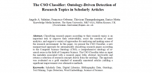 The CSO Classifier: Ontology-Driven Detection of Research Topics in Scholarly Articles