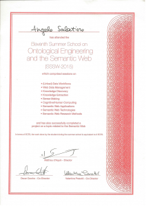 Certificate of participation to the 11th Summer School on Ontology Engineering and the Semantic Web